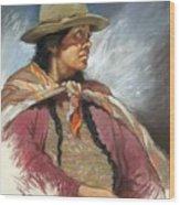 Native Peruvian Woman Wood Print