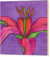 Neon Lily Wood Print