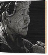 Nepali Elder At Bodhnath Stupa Wood Print