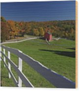 New England Barn In Autumn Wood Print