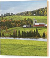 New England Farm Wood Print