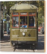 New Orleans Cable Car Wood Print
