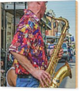 New Orleans Jazz Sax Wood Print