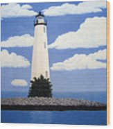 New Point Comfort Lighthouse Wood Print