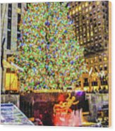 New York City Christmas Tree Wood Print