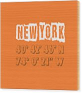 New York Coordinates Wood Print