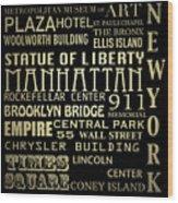 New York Famous Landmarks Silver Wood Print