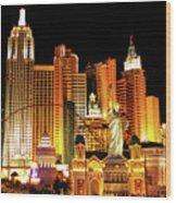 New York New York Hotel Wood Print