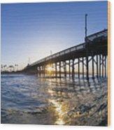 Newport Pier Curl Wood Print