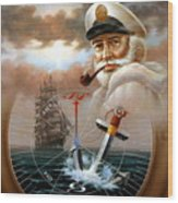 News Map Captain 2 Or Sea Captain Wood Print