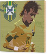 Neymar Art Deco Wood Print by Lee Dos Santos