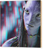 Neytiri - Use Red And Cyan 3d Glasses Wood Print