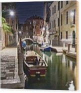 Night Canal Wood Print