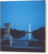 Night View Of The Washington Monument Across The National Mall Wood Print