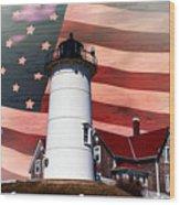 Nobska Lighthouse On American Flag Wood Print