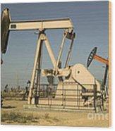 Nodding Donkey Oil Pumps Wood Print