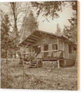 North Maine Cabin Wood Print