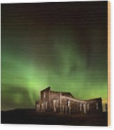 Northern Lights Canada Abandoned Building Wood Print