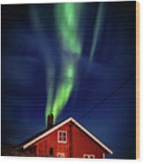 Northern Lights Chimney Wood Print