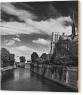 Notre Dame Cathedral And The River Seine - Paris Wood Print