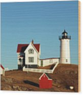 Nubble Light House Wood Print