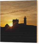 Nubble Lighthouse Wood Print by John Greim