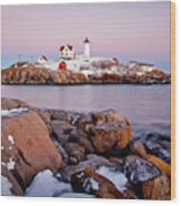 Nubble Winter Dusk Wood Print