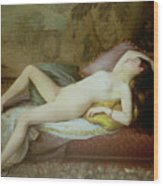 Nude Lying On A Chaise Longue Wood Print by Gustave-Henri-Eugene Delhumeau
