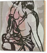Nude - Pop Art Etching Poster Wood Print