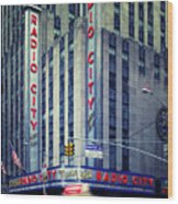 Nyc Radio City Music Hall Wood Print by Nina Papiorek