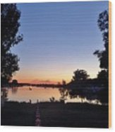 Obear Park And The Danvers River At Sunset Wood Print
