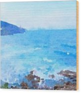 Ocean Coastline Watercolor Wood Print