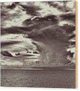 Ocean God Clouds Wood Print
