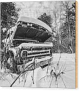 Old Abandoned Pickup Truck In The Snow Wood Print