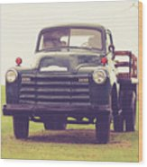 Old Chevy Farm Truck In Vermont Square Wood Print