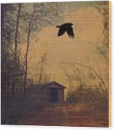 Lone Crow Flies Over The Old Country Road  Wood Print