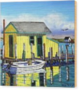 Old Crab Yellow Shacks Of Tangier Island Wood Print