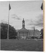 Old Main Penn State Black And White  Wood Print