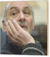 Old Man Thinking Wood Print