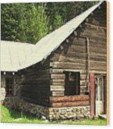 Old Miner Cabin Wood Print