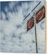 Old Rustic Fuel Station Sign In The Countryside Wood Print