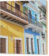 Old San Juan Houses In Historic Street In Puerto Rico Wood Print
