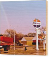 Old Signs At The Mother Road - Standard Oil And Motel - Route 66 Wood Print