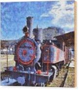 Old Steam Train In Nafplio Town Wood Print