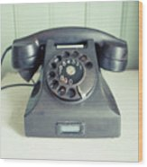 Old Telephone Square Wood Print