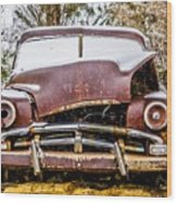 Old Vintage Plymouth Automobile In The Woods Covered In Snow Wood Print