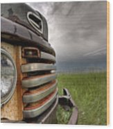 Old Vintage Truck On The Prairie Wood Print