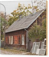 Old Wooden House With Tar Wood Print