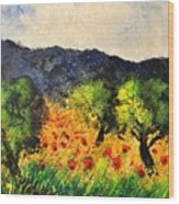 Olive Trees And Poppies  Wood Print