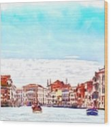 On A Boat Trip On The Grand Canal In The Beautiful City Of Venice In Italy Wood Print